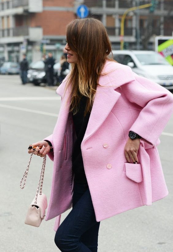 On pink coats.