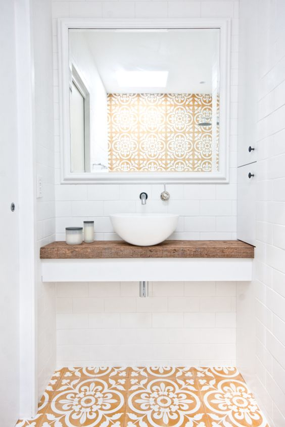 shelf style vanity with cement tile floor: