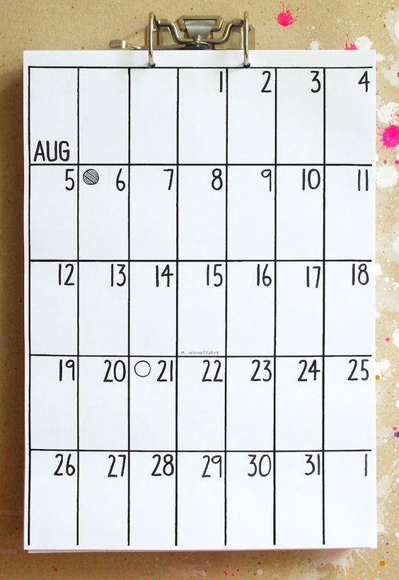 Wandkalender - Kalender 2016 / 2017 - ein Designerstück von hippie-projects-2 bei DaWanda