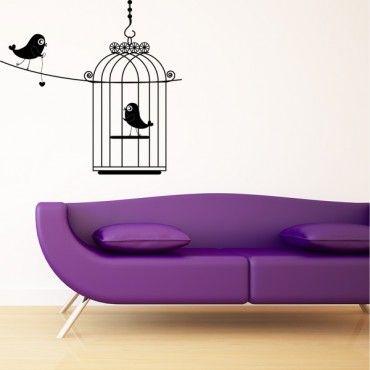 Sticker cage à oiseaux. http://www.stickers-folies.fr
