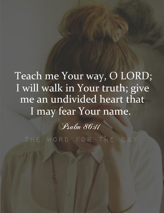 "Psalm 86:11 ""Give me an undivided heart, that I may fear Your name"" (Psalm 86:11). My heart is so often divided, I need the Lord to unite it, so that I might worship Him with all my heart. How hard it is to focus on the treasures of life! How easy it...:"