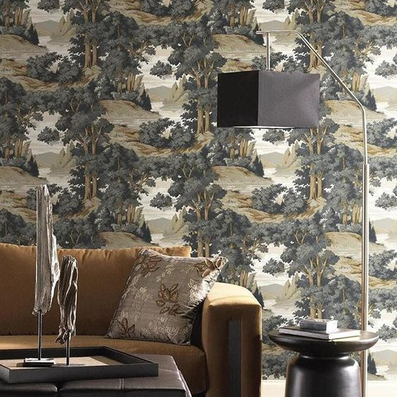 Perfect for a home office or reading corner - Forest Lake Scenic Wallpaper creates a deep and contemplative atmosphere taking on a more masculine tone.