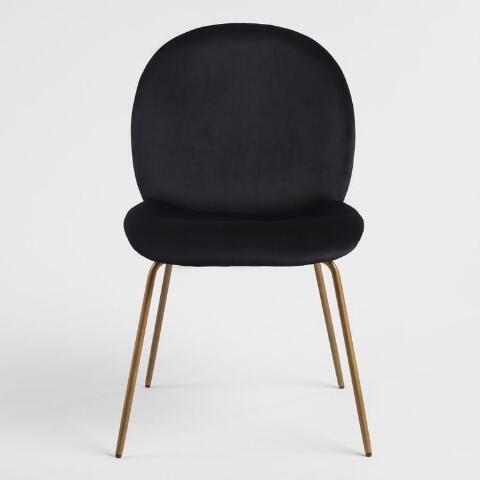 Black Velvet Vivian Dining Chairs Set Of 2 World Market Velvet