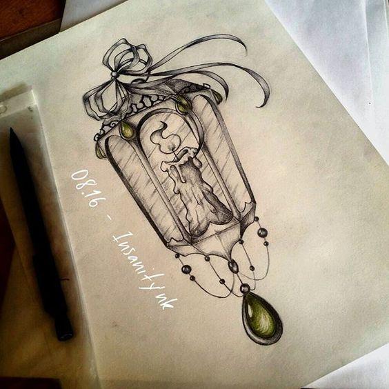 Disponible ; 25 €  #draw #drawing #sketching #tattoosketch #tattoodesign #tattooflash #tattoodraw #lantern #candles #ribbon #bow #lace #blacktattoos #darkartists #gemstone