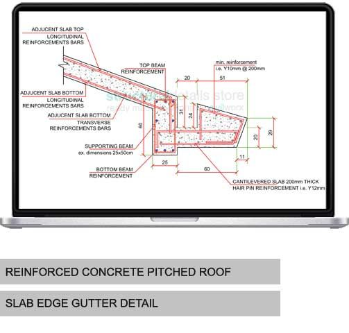 Concrete Pitched Roof Slab Edge Gutter Detail