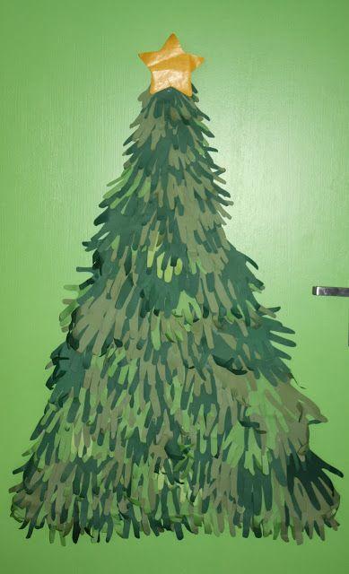Klassenkunst tannenbaum aus h nden basteln mit kindern for Weihnachtsbaum basteln papier