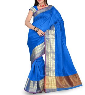 Blue Chanderi Silk Banarasi Saree With Zari Work
