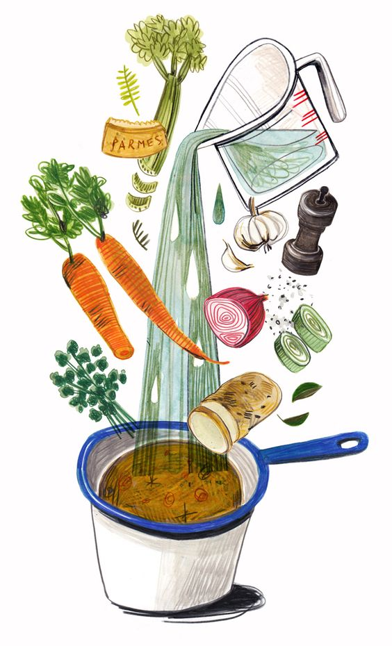 Illustrate a recipe with all the ingredients tossed out!