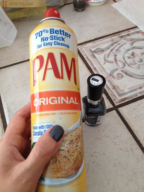 Spray PAM on wet nails, wipe it off, they're completely dry! No way.. from Real Simple magazine