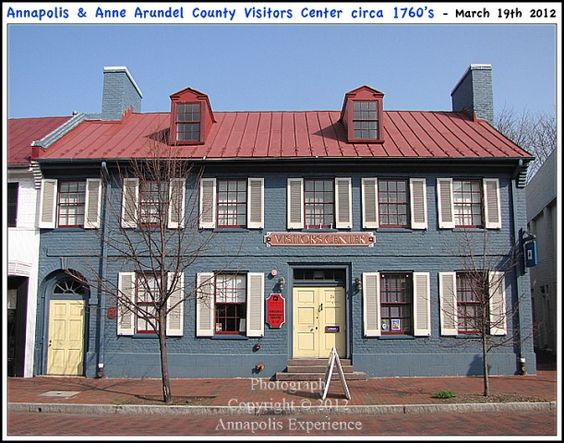 The Annapolis and Anne Arundel Visitors Center building, circa 1765, at 26 West Street in Annapolis Maryland. A grand Georgian style building with heavy colonial era influences. Photograph taken on March 19th 2012. Click on this image to view the original Annapolis Experience Blog post. Copyright © 2012 Annapolis Experience