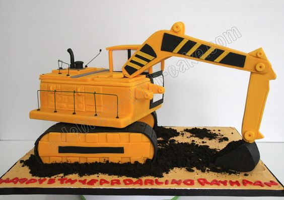 Excavator cake and cakes on pinterest for Digger cake template