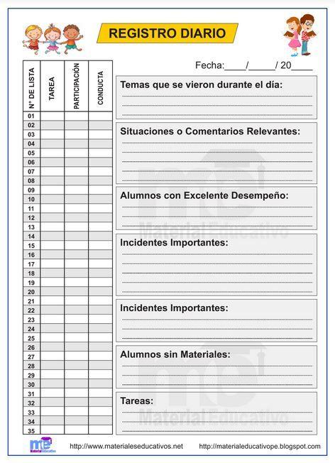 Formato De Registro Diario Gratis I Material Educativo Instrumentos De Evaluacion Preescolar Evaluaciones Para Preescolar Planificacion Docente