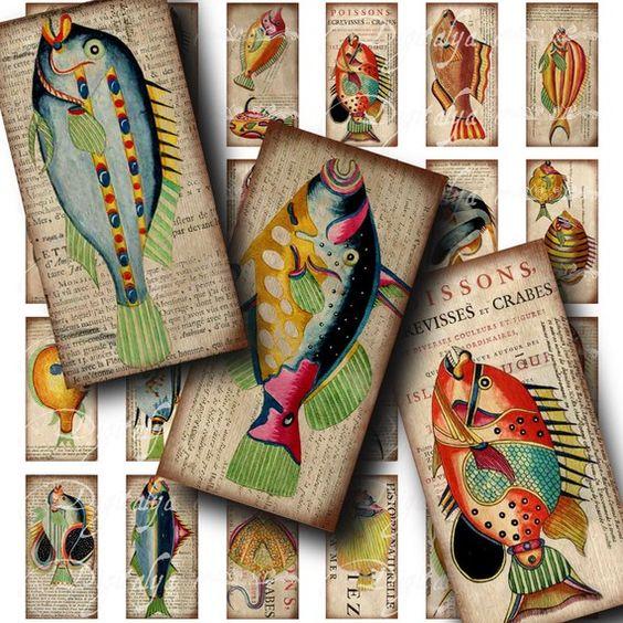 Poissons colorés (2) bizarre Collage Digital Sheet - Dominos 1 x 2 pouces ou de bambou. 75x1.5 en - créatures de la mer - Buy 3 Get 1 Extra ...