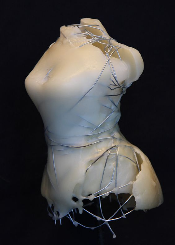 "Kim Bruce  Dress Maker 2, 2009, cast beeswax with 20 ga wire,  6.5"" H x 4.5W x 4""D"