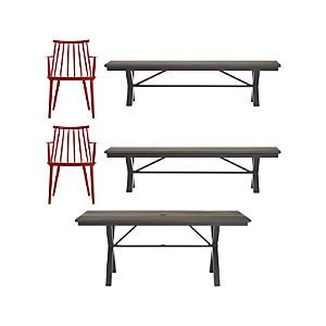 Union 5-Piece Trestle Dining Table with Red Dining Chairs and Bench Set