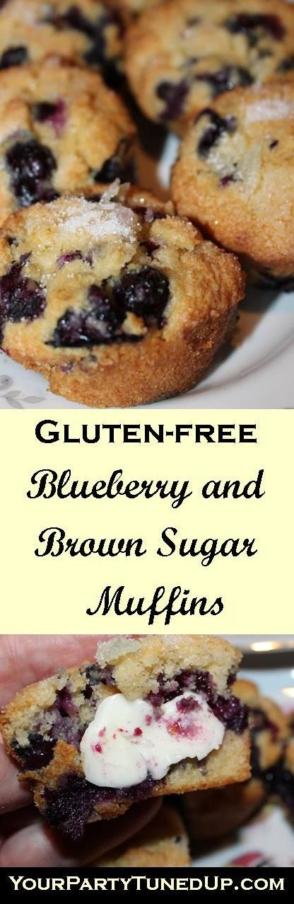 GLUTEN FREE BLUEBERRY AND BROWN SUGAR MUFFINS.  These are loaded with blueberries and the BEST GF blueberry muffins, especially warm out of the oven!  As easy to make as they are AMAZING!