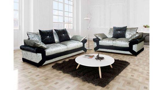 Calvin Crushed Velvet Fabric Sofa Set 3+2