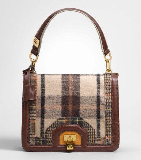 Tory Burch Brown Plaid Bond Shoulder Bag