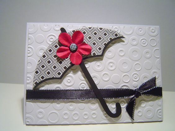 Umbrella card - try to make from circle punches - hmmm for the handle?