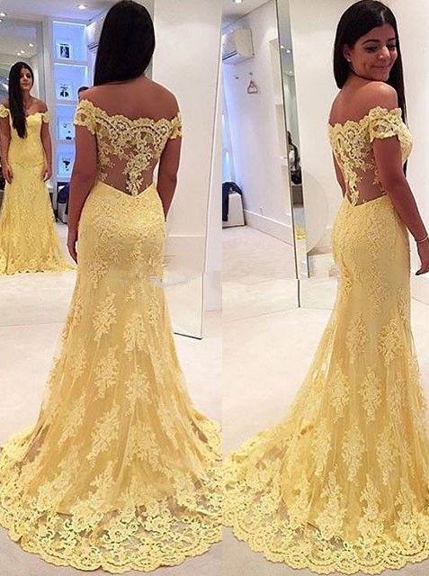 Elegant Mermaid Yellow Lace Off Shoulder Long Prom Dress