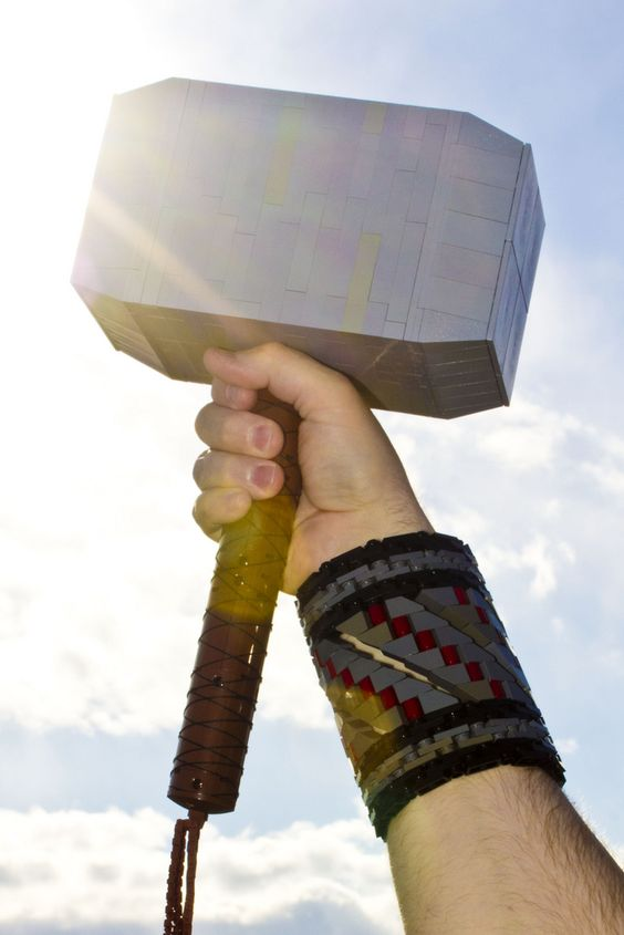 Thor hammer and armband made from LEGOs. #Avengers