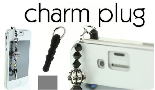 4 or 36 Black Cell Phone Charm Plugs Fits Into Headphone Jack Then Add Charms   eBay