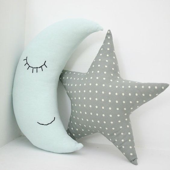 Handmade in Estonia, this @prostoconcept set of two half moon and star cotton pillows is the perfect mix of decorative and cute, wonderful for any child's room!  Etsy Shop: ProstoConcept  #ProstoConcept #Pillows #HomeDecor #Estonia #Moon #HandmadeLoves
