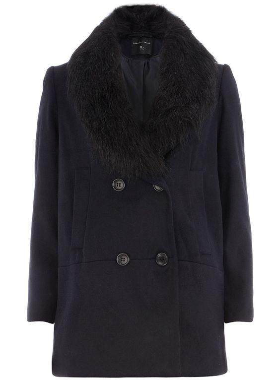 Navy fur rectangle Coat | DP