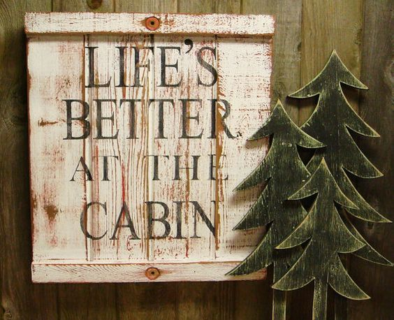 Cabin sign lake beach house decor life 39 s better at the for Beach cabin decor