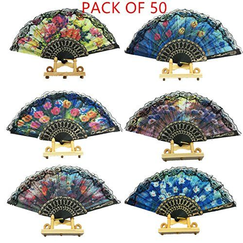 Spanish Floral Folding Hand Fan Retro Lace Handheld Fans for Dance Party Wedding