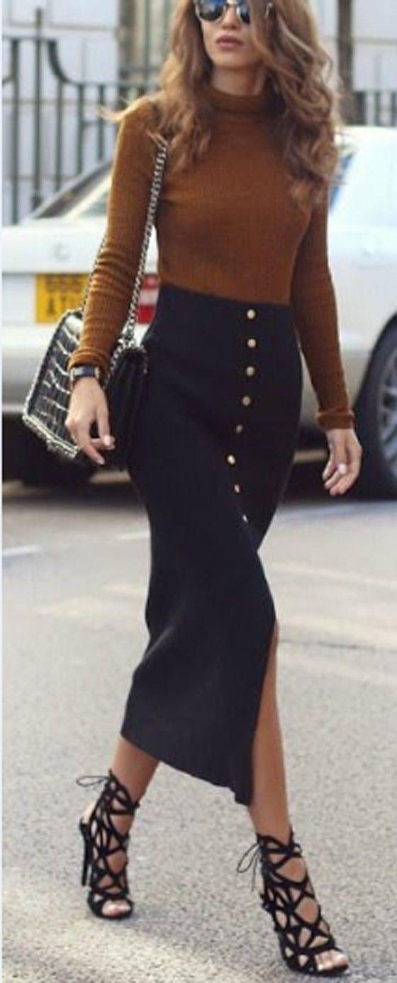 Black Plain Buttons Embellished High Waist Fashion Cotton Pencil Maxi Skirt