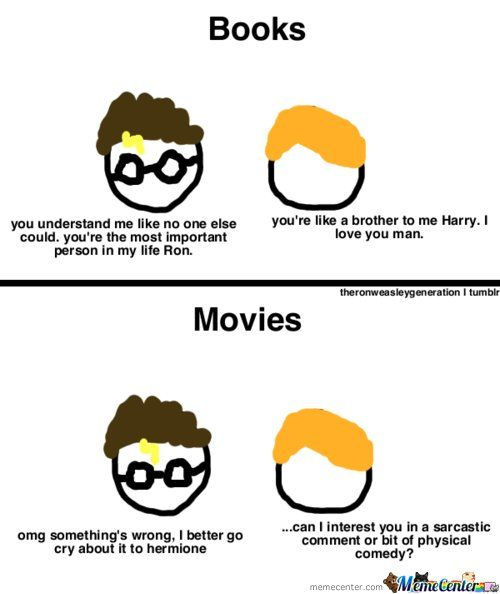 What are the main differences in the Harry Potter novels vs. the Harry Potter movies?