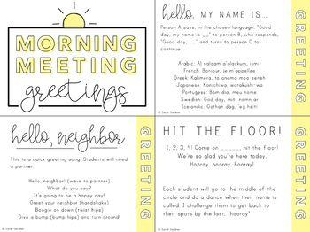 Morning Meeting Greetings Activities Morning Meeting Greetings