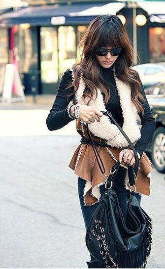 Faux Leather+Lambswool Waistcoat