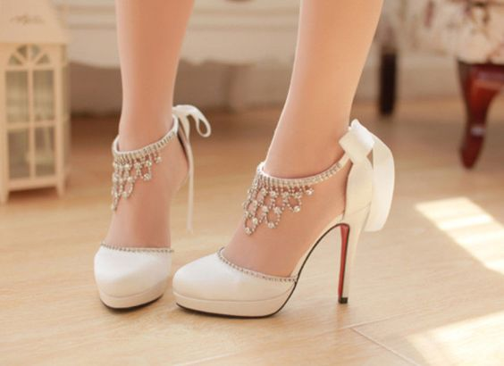 White Ivory Satin Crystal Wedding Bridal High Heels Pumps Shoes 6 ...