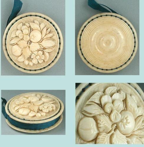 Antique Carved Bone Dieppe Pin Cushion Disc French Circa 1830 Pin Cushions Bone Carving Carving