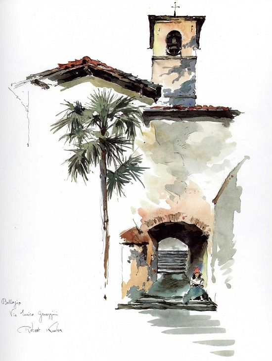 Very basic water colour drawing - image does look very 2D - not a lot of contouring.