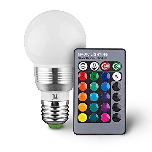 HitLights 2 Pack RGB Multicolor LED Bulb, 3 Watt MR16/E26 - Includes Remote with 16 colors - Fits Standard Light Bulbs Socket - Great for stage, music, production and anywhere in the home