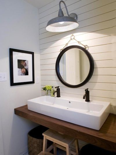 like the combination of the barn light, paneling and sink... perfect for a half bath/powder room.