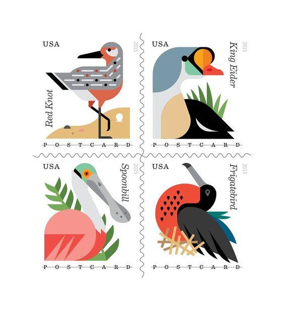 USPS Postage Stamps: Coastal Birds on Behance