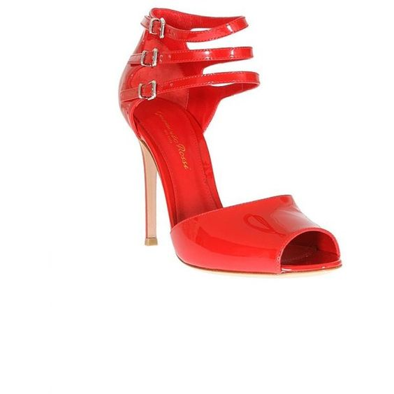 Gianvito Rossi Red Patent Leather Sandals ($800) ❤ liked on Polyvore