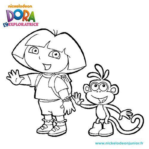 Dora L Exploratrice Et Le Singe Babouche En Coloriage A Imprimer