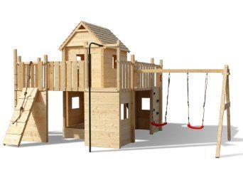 Spielturm Holzspielhaus Rutsche Schaukel Gartenhaus Festung Burg: Amazon.de: Spielzeug