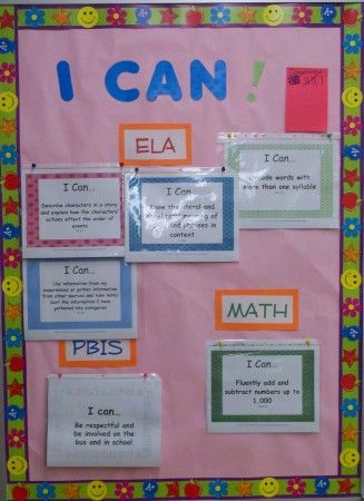 I can statements common cores and bulletin boards on for I can bulletin board ideas