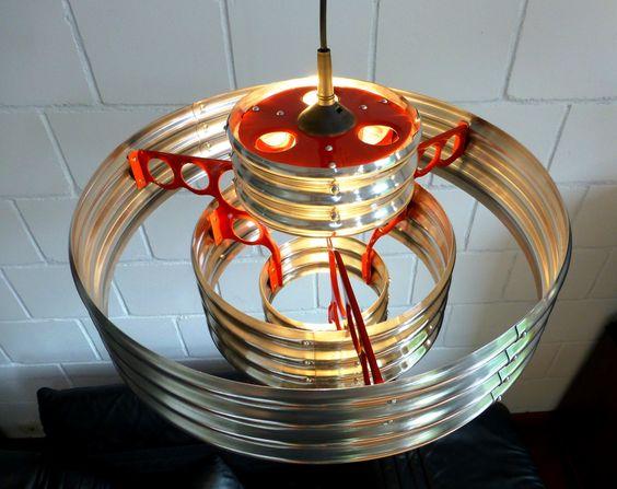 corrugated metal pendant lamp, view from upside. Design: AERO-1946