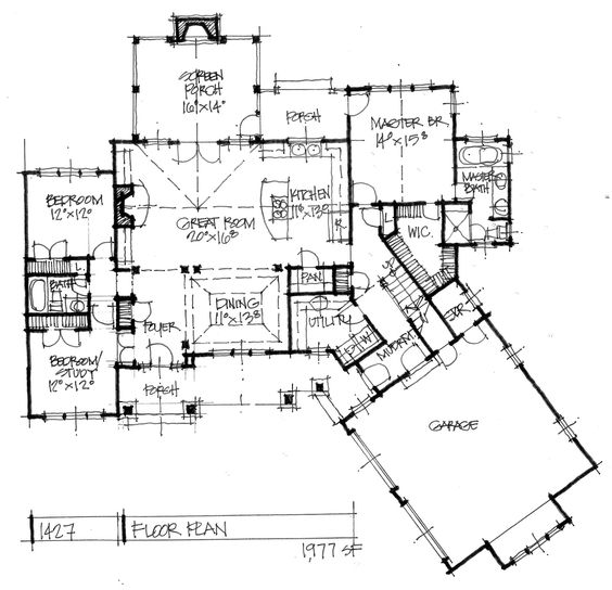 one story angled house plans
