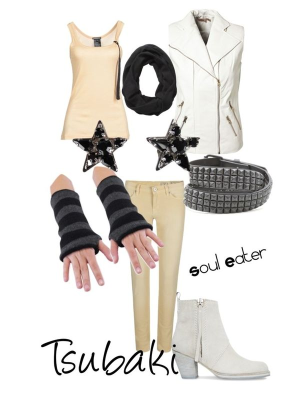 """Tsubaki, from Soul Eater"" by blackrabbitmegapig ❤ liked on Polyvore featuring moda, NLY Trend, AllSaints, Ann Demeulemeester, Acne Studios, Emanuele Bicocchi, manga, cosplay, tsubaki y anime"