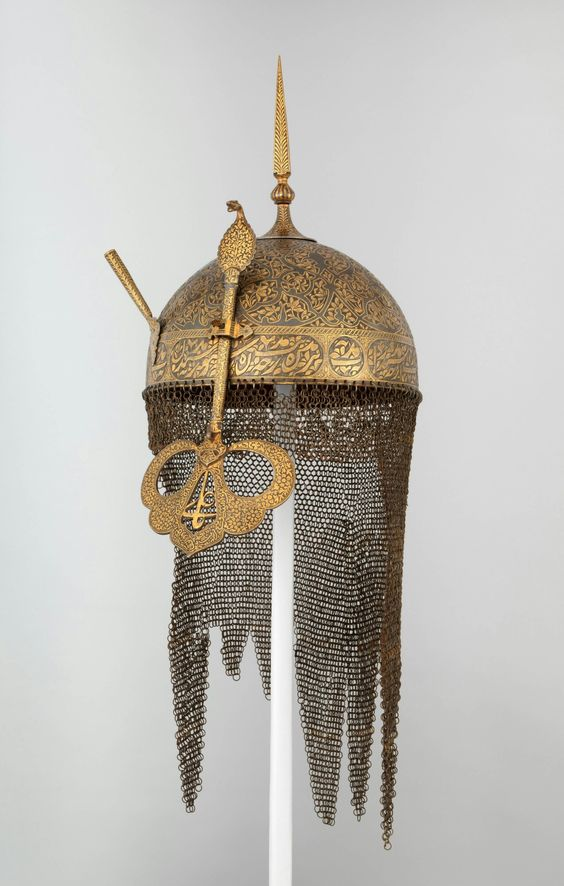 Deccan helmet with cobra motif face shield and chain mail, 17th-19th century India