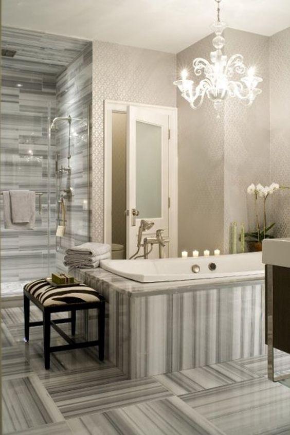 master bath - wallpaper