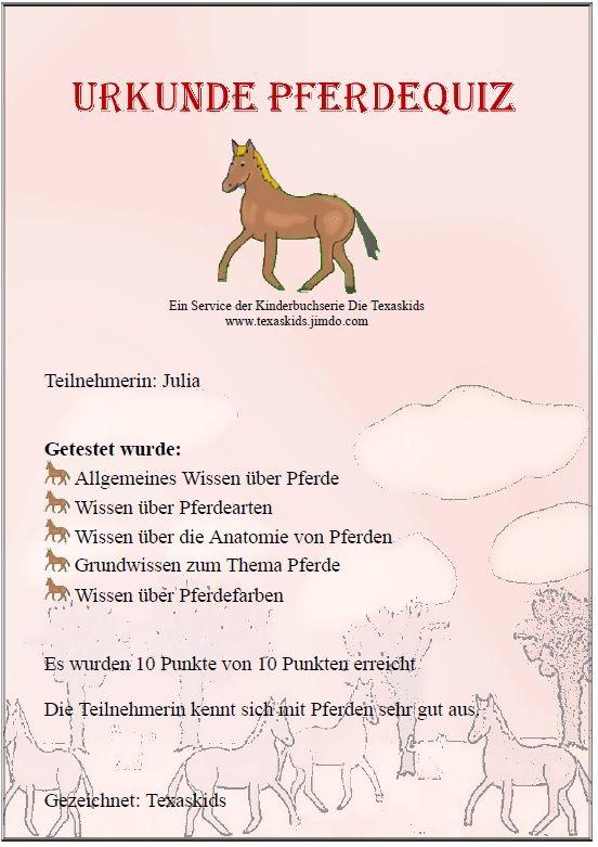 Pferde Quiz Online Mit Urkunde Zum Ausdrucken Kindergeburtstag Pferde Pferde Geburtstag Quiz